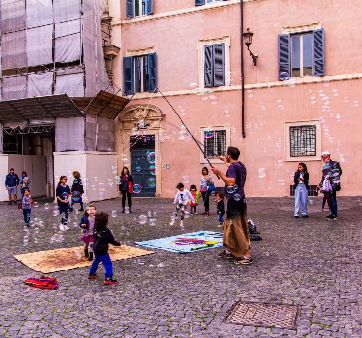 Piazzas have vibrant scenes especially in Trastevere, Rome
